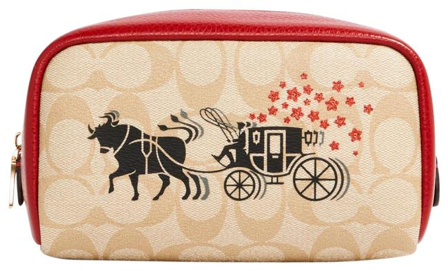 Item - Light Khaki Multi C2257 Lunar New Year Small Boxy In Signature Canva Cosmetic Bag