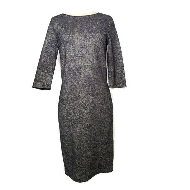 Item - Dark Blue and Silver Sheath Mid-length Cocktail Dress Size 12 (L)