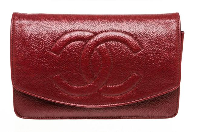 Item - Wallet on Chain Woc Burgundy Caviar Leather Clutch