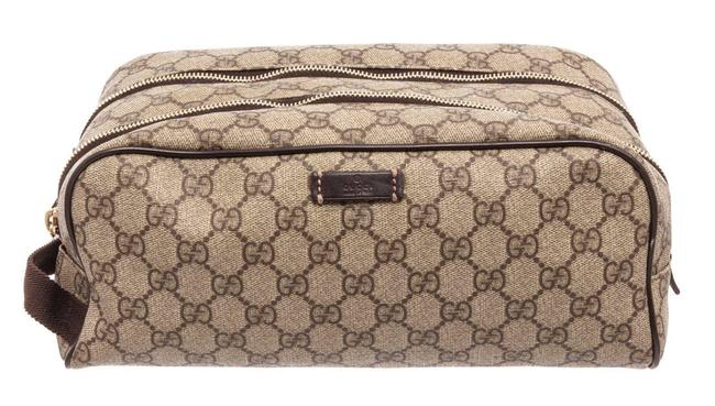Item - Beige Toiletry Pouch Gg Supreme Leather Cosmetic Bag