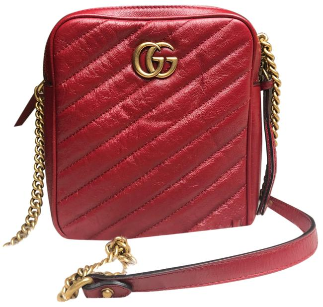 Item - GG Marmont Shoulder Red Leather Cross Body Bag