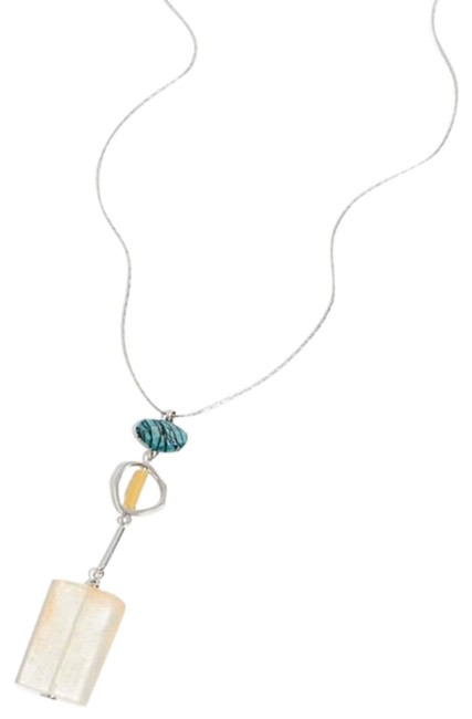Item - Silver and Blue Fez Resin Pendant Necklace