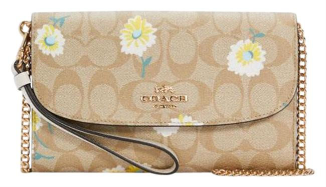 Item - Crossbody C3052 Gemma In Signature Canvas with Daisy Light Khaki Chalk Multi Pvc Clutch