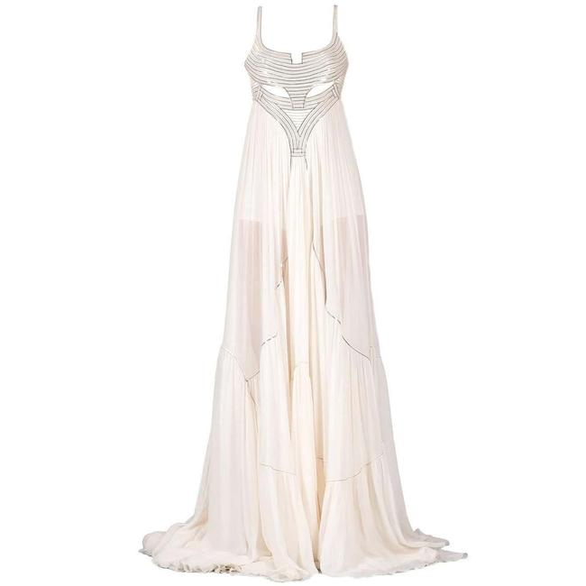 Item - White New Metal Embellished Silk Gown Long Night Out Dress Size 2 (XS)