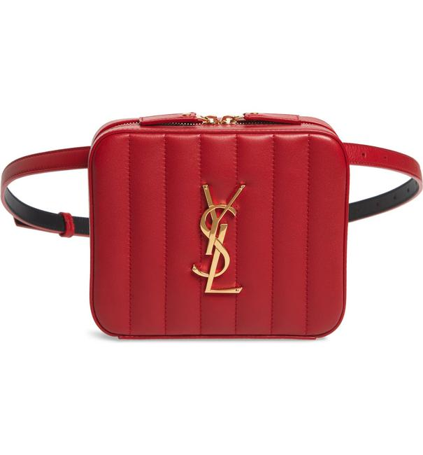Item - Vicky Monogram Red Quilted Leather Belt Cross Body Bag