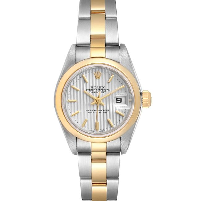 Item - Silver Datejust Steel Yellow Tapestry Dial Ladies Watch