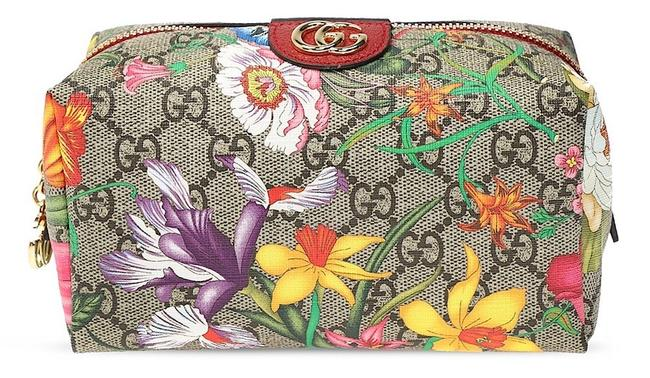 Item - Beige Brown Beauty Case New Ophidia Flora Travel Zip Pouch Cosmetic Bag