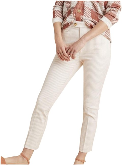 Item - Cream Essential Slim Ivory Red Striped Pinstripe Ankle Pants Size 10 (M, 31)