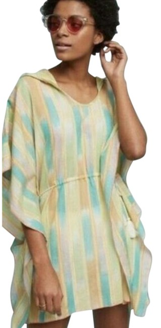 Item - Yellow L Lilka Ikat Boho Tie Dyed Tunic Hooded Striped Coverup M/L One-piece Bathing Suit Size 12 (L)
