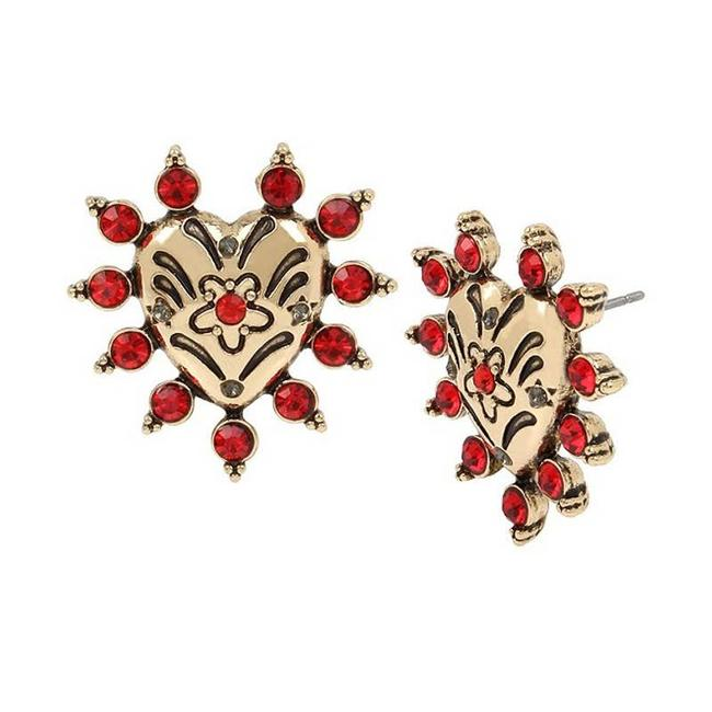 Item - Red Crystal and Gold Heart Stud New Earrings