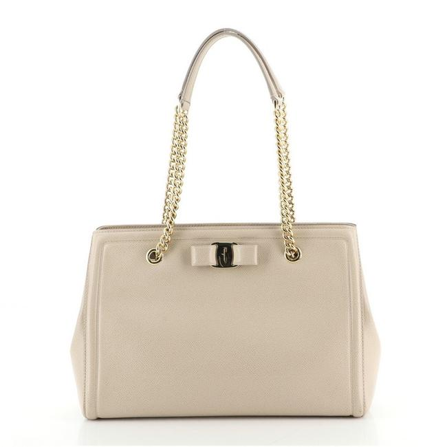 Item - Vara Bow Double Chain Medium Neutral Leather Tote