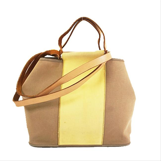 Item - Bag Cabag Kabakpm □p Stamp Women's Beige / Yellow Canvas Tote
