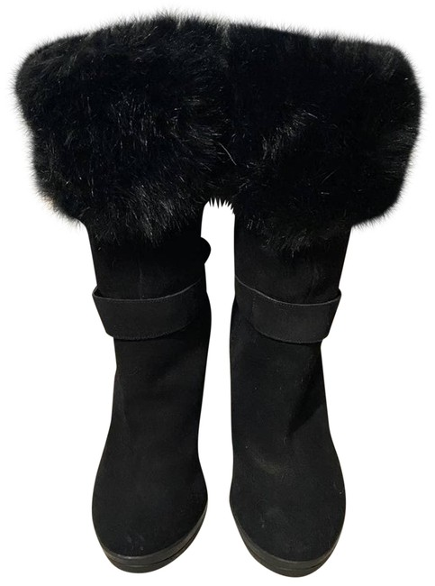 Item - Fur Trimmed Wedge Boots/Booties Size US 8 Regular (M, B)