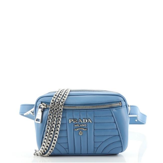 Item - Belt Bag Convertible Diagramme Quilted Small Blue Leather Satchel