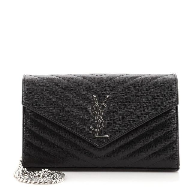 Item - Wallet on Chain Classic Monogram Matelasse Chevron Medium Black Leather Shoulder Bag