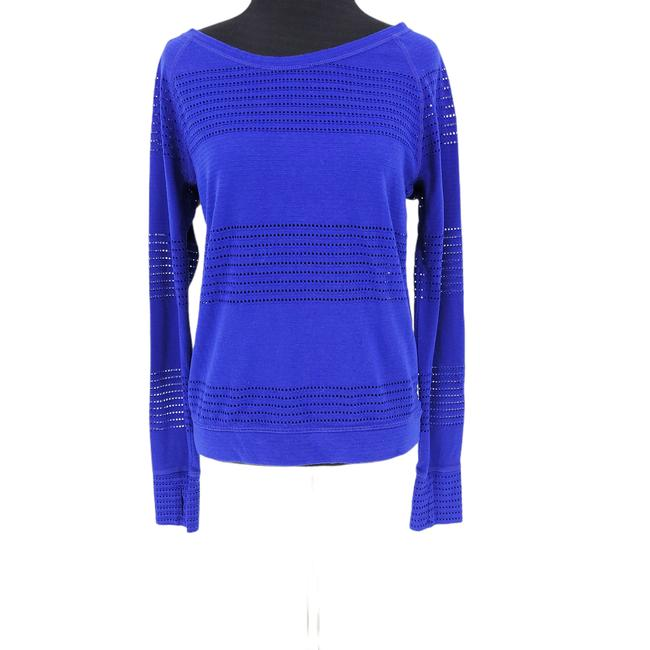 Item - Blue Limitless Mesh Crew Pullover Thumbhole Small Activewear Top Size 2 (XS)