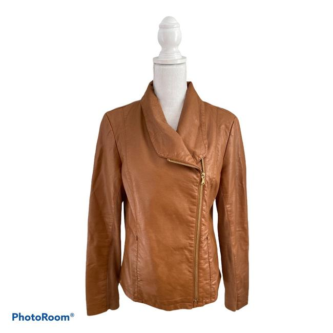 Item - Brown New York Faux Leather Jacket Size 8 (M)