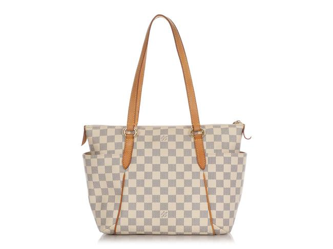 Item - Totally Damier Azur Pm Blue Checked Coated Canvas Tote