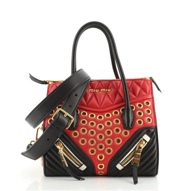Item - Biker Convertible Grommet Embellished Small Red Leather Tote