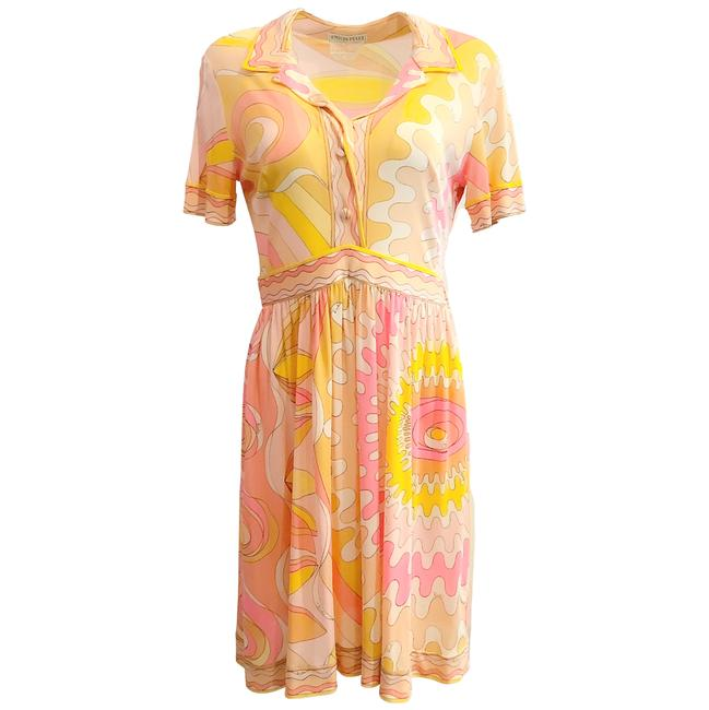 Item - Vintage Yellow and Pink Multi Pattern Short Casual Dress Size 10 (M)