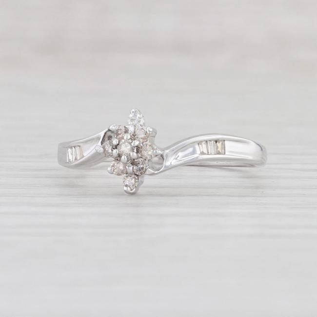 Item - White Gold Diamond Cluster 10k Size 8.5 Bypass Band Engagement Ring
