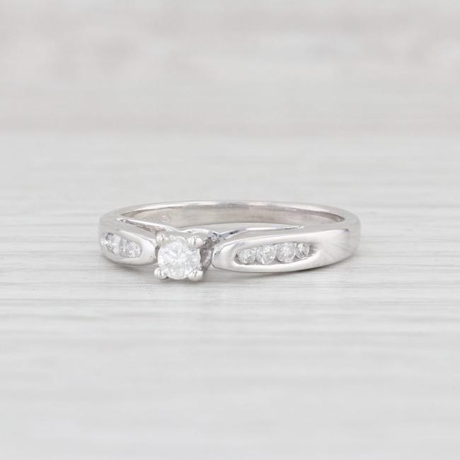 Item - White Gold Diamond 10k Size 5.75 Cathedral Band Engagement Ring