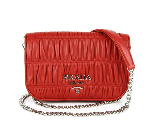 Item - Gathered with Silver Logo and Chain Strap 1bd137 Red Leather Cross Body Bag