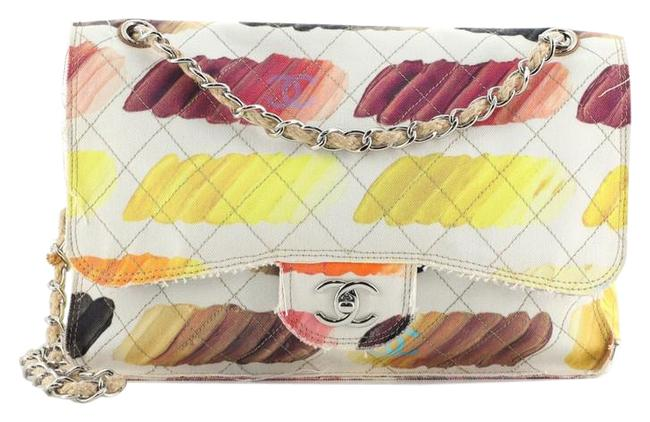 Item - Flap Colorama Quilted Watercolor Canvas Jumbo Multicolor Print Yellow Plastic Cross Body Bag