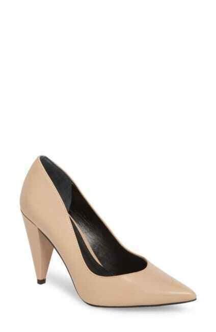 Item - Beige Leather Cone Heel Pointed Pumps Size US 7 Regular (M, B)