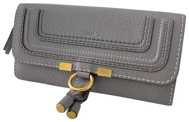 Item - Cashmere Grey Long Marcie With Flap In Grained Calfskin Wallet
