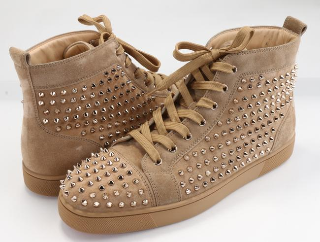 Item - Sandy Brown Veau Velours Louis Spikes Flat Sneakers Shoes