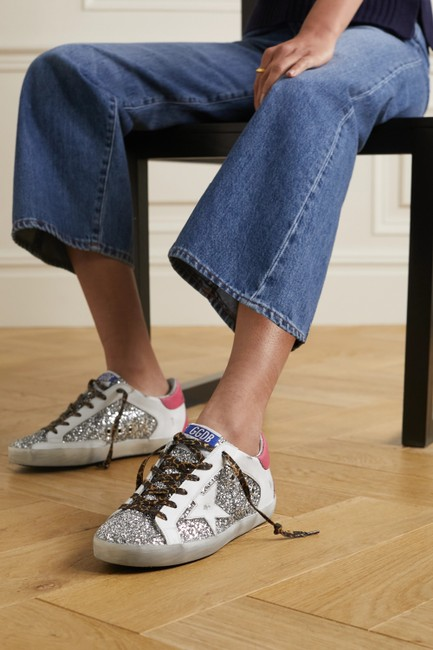 Golden Goose Deluxe Brand Silver Superstar Distressed Glittered Leather Sneakers Size EU 35 (Approx. US 5) Regular (M, B) Golden Goose Deluxe Brand Silver Superstar Distressed Glittered Leather Sneakers Size EU 35 (Approx. US 5) Regular (M, B) Image 2