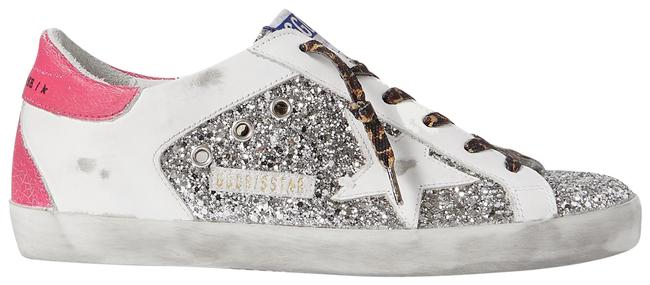 Item - Silver Superstar Distressed Glittered Leather Sneakers Size EU 38 (Approx. US 8) Regular (M, B)