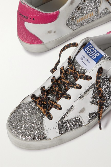Golden Goose Deluxe Brand Silver Superstar Distressed Glittered Leather Sneakers Size EU 41 (Approx. US 11) Regular (M, B) Golden Goose Deluxe Brand Silver Superstar Distressed Glittered Leather Sneakers Size EU 41 (Approx. US 11) Regular (M, B) Image 4