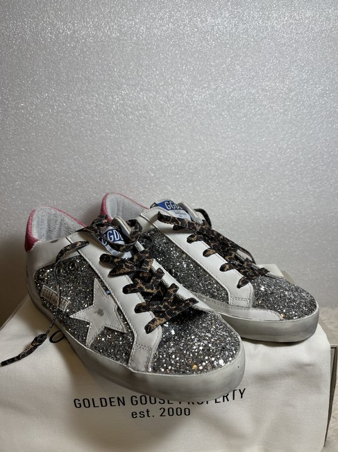 Golden Goose Deluxe Brand Silver Superstar Distressed Glittered Leather Sneakers Size EU 41 (Approx. US 11) Regular (M, B) Golden Goose Deluxe Brand Silver Superstar Distressed Glittered Leather Sneakers Size EU 41 (Approx. US 11) Regular (M, B) Image 5