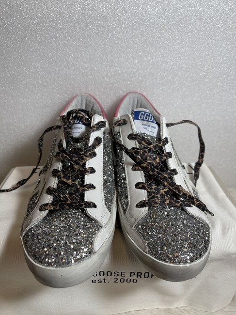 Golden Goose Deluxe Brand Silver Superstar Distressed Glittered Leather Sneakers Size EU 41 (Approx. US 11) Regular (M, B) Golden Goose Deluxe Brand Silver Superstar Distressed Glittered Leather Sneakers Size EU 41 (Approx. US 11) Regular (M, B) Image 8