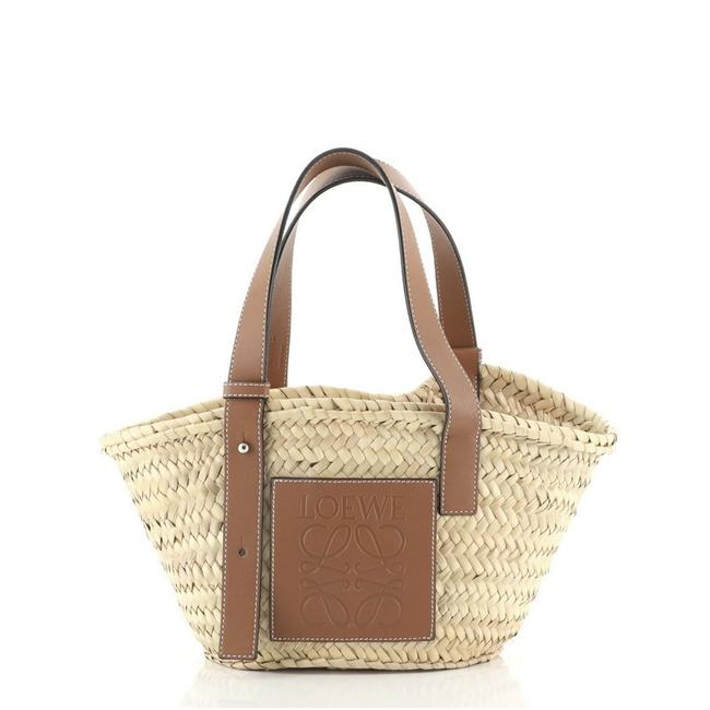 Item - Basket Small Brown Neutral Raffia Leather Tote