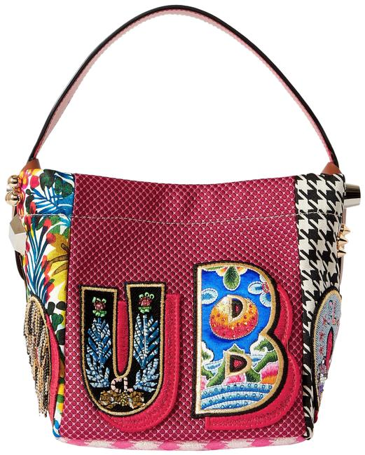 Item - Caracaba Mini Leather-trimmed Appliquéd Patchwork Red Canvas Tote