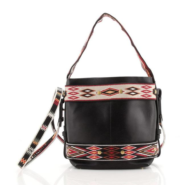Item - odeo Calfskin with Embroidered Detail Small Black Multicolor Leather Hobo Bag