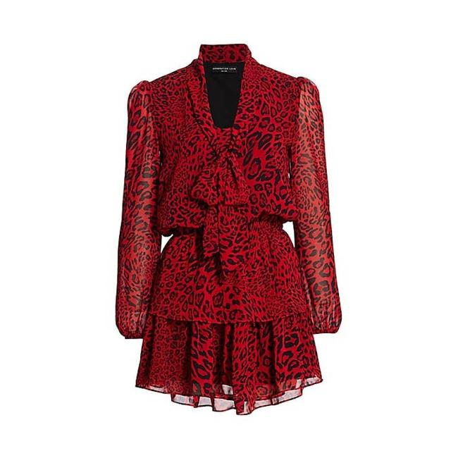 Item - Red Solange Leopard-print Ruffle Short Casual Dress Size 0 (XS)