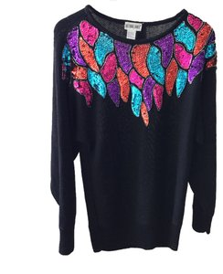 Other Beaded Vintage Knit Holiday Christmas New Year's Eve Party Bling Celebration Sweater