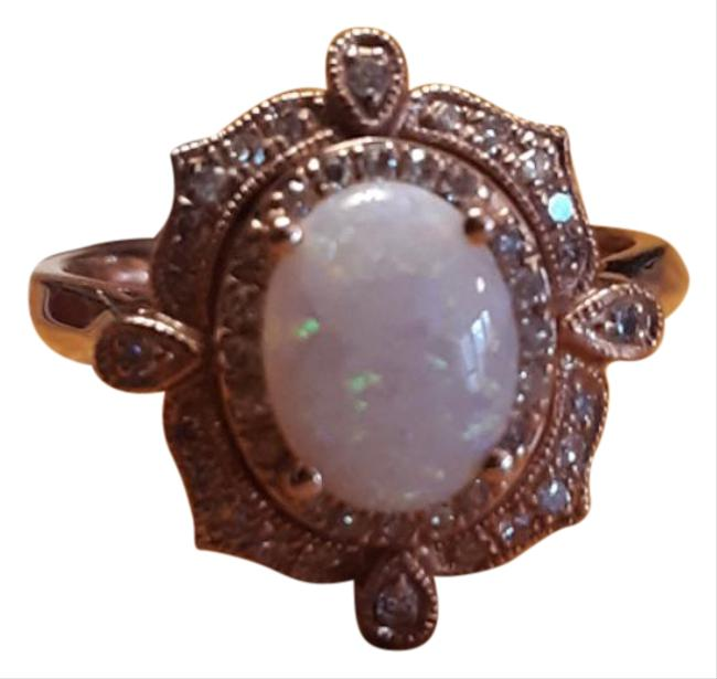 Item - White and Rose. Opal Diamond Ring
