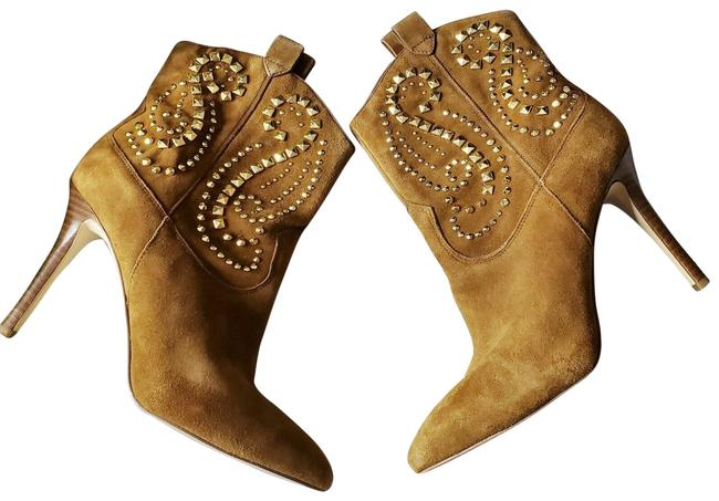 Item - Brown Reena Caramel Suede Studded Western Ankle Boots/Booties Size US 7 Regular (M, B)