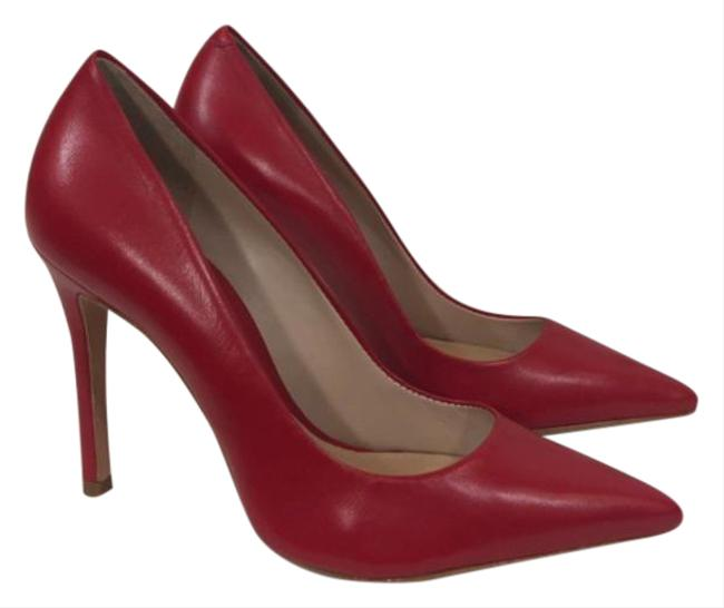 Item - Red Gilberta Leather Pointed Toe Stiletto Heels Pumps Size US 7.5 Regular (M, B)