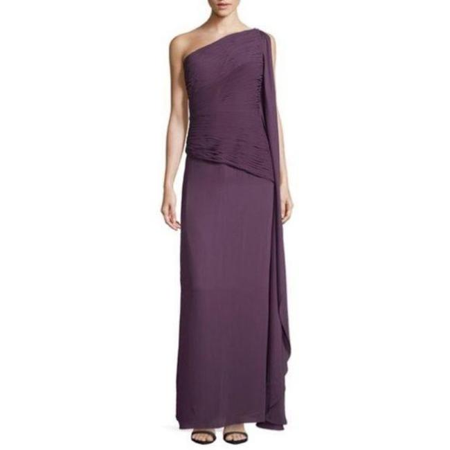 Item - Purple Organza / Polyester Heritage Georgette Plum Gown Modern Bridesmaid/Mob Dress Size 6 (S)