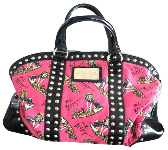Item - Bright Pink and Gold with Shiny Black Handled and Inbelishments. Canvas Weekend/Travel Bag