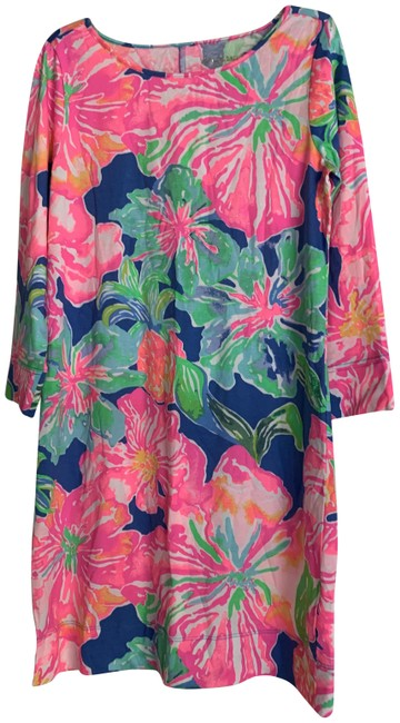 Lilly Pulitzer Multicolor New Floral Print Pima Cotton 3/4 Sleeve Mid-length Short Casual Dress Size 6 (S) Lilly Pulitzer Multicolor New Floral Print Pima Cotton 3/4 Sleeve Mid-length Short Casual Dress Size 6 (S) Image 1