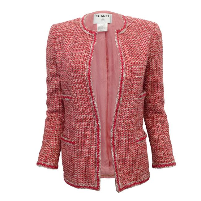 Item - Red / White Tweed Open Front Blazer Size 2 (XS)