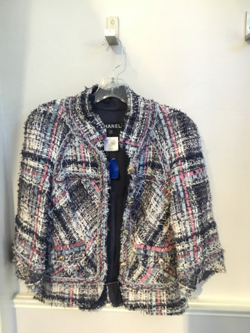 Item - Pink Blue and White Tweed Fantasy with Ribbon Detail Blazer Size 8 (M)