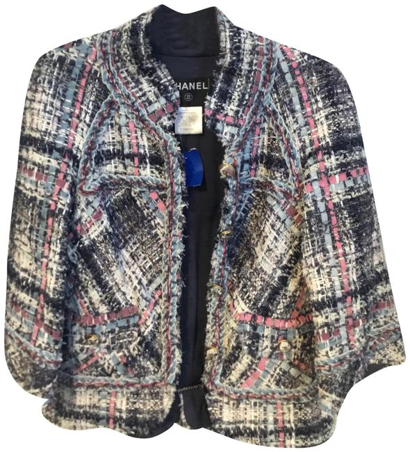 Item - Pink Blue and White Tweed Fantasy with Ribbon Detail Blazer Size 4 (S)